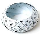 White vintage printed steel tape bangle