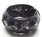 Black vintage etched steel tape bangle